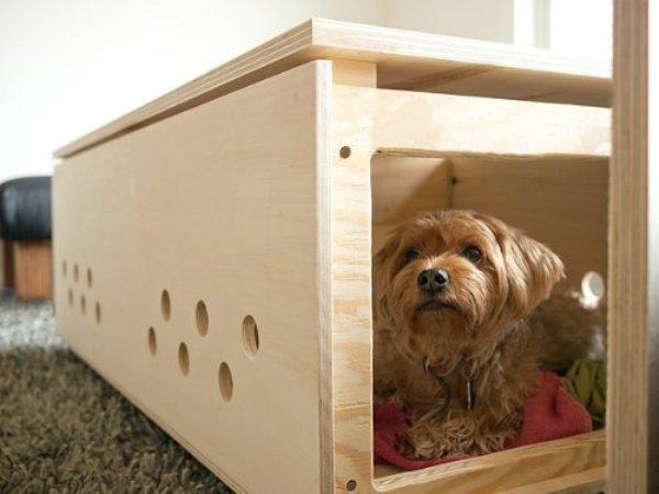 Пес в деревянном домике