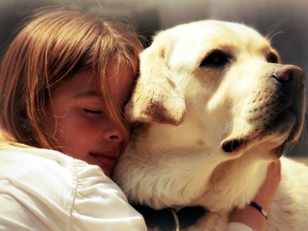 Девочка обнимает собаку