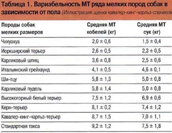 Таблица зависимости веса от пола